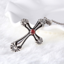 unique black silver thai silver cross pendant with garnet zircon