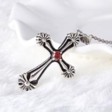 Уникальный серебряный серебристый серебристый крест с гранатом циркона