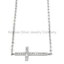 Moda 925 prata esterlina jóias cruz pingente colar (kn3011)