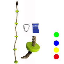 Swing set children climbing rope with plastic knots disk for kids