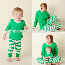 Pijama 100% algodón pijamas pijamas de Navidad color verde y blanco pijamas de Navidad para niños en color verde y blanco