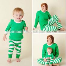 Customersized 100% cotton pajamas green and white color christmas pajamas children christmas pajamas in green and white color