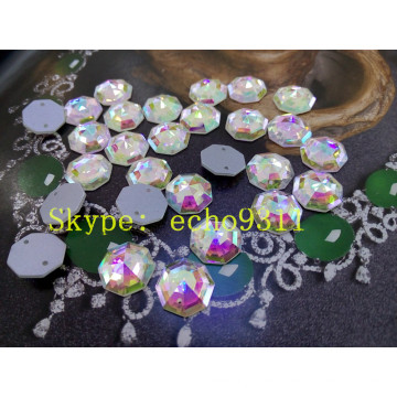 14mm Hexagon Shape Sew on Loose Glass Stones (DZ-1189)