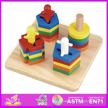 2014 New Kids Wooden Toy Stacking and Shape Puzzle, Popular Children Toy Stacking, Hot Sale Wooden Preschool Toy Stacking W13e015
