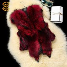 Genuine Raccoon Hooded Rabbit Fur Women Fashion Waistcoats Vests