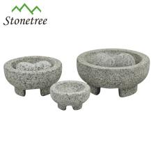 Fabricant de guacamole de mortier et pilon de pierre noire mexicaine Molcajete