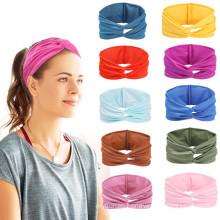 Bandeau fascia per capelli Solid Cross Non-slip Sweatband sport Elastic headbands custom women Spa Makeup headband for yoga Runn