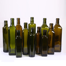 Wholesale Hot-Selling Green and Brown Round Square Cooking Olive Oil Glass Bottle
