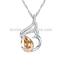 Elegant dubai white gold plated jewelry phoenix crystal necklace