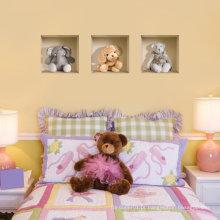 Vinil Removível Cinza e Marrom Teddy Bears 3D adesivo de parede crianças