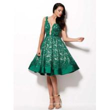 Deep Neck Green Knielanges Abendkleid Cocktailkleid