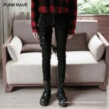 PUNK RAVE OPK-339XCF girls punk series plus size vintage party club black strap sexy demin jean