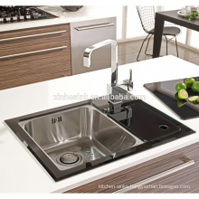 Glass Stainless Steel Kitchen Sink with drainer