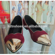 Metall Kappe pointe Zehe Mode flache Schuhe Gold Piping Frauen Ballett Pumpen