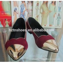 Chaîne en métal pointe pointe chaussures plates chaussures en or pompes de ballet femme ballet
