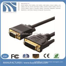 Gold Plated DVI-I para VGA 15 pinos Masculino / Masculino cabo de vídeo 10Ft