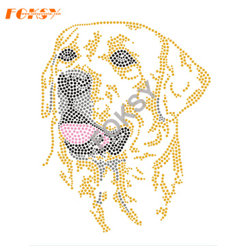 Cartoon Dog Motif Iron On Rhinestone Heat Transfer