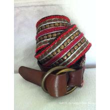 Мода ручной вышитый бисером ювелирные классические кожаные декоративные пряжки ремня для женщин