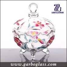 Spray Colored Glass Candy Pot with Cover