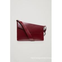 Polished Leather Asymmetric Leather Shoulder Bag