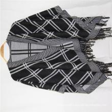 custom plain color shawl fringe on two side checked and Herringbone design super soft hand feeling cappa