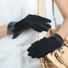 ladies/women genuine sheep leather suede gloves