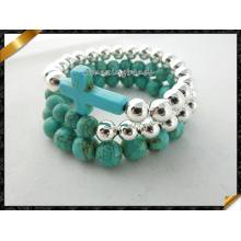 Turquosie Cross Bracelets Silver Round Beads Bracelets Set (CB064)