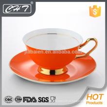 Novo produto colorido em 2015 xícara de chá de porcelana fina e pires conjunto