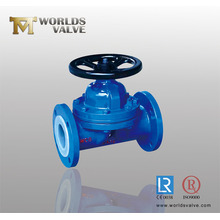 PFA Lined Cast Iron Diaphragm Valve with Flange End