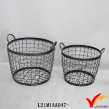 S/2 Rustic Round Decorative Handmade Large Wire Baskets