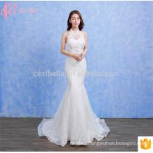 Top Design Rhinestone bordado de encaje blanco Suzhou sirena vestido de novia