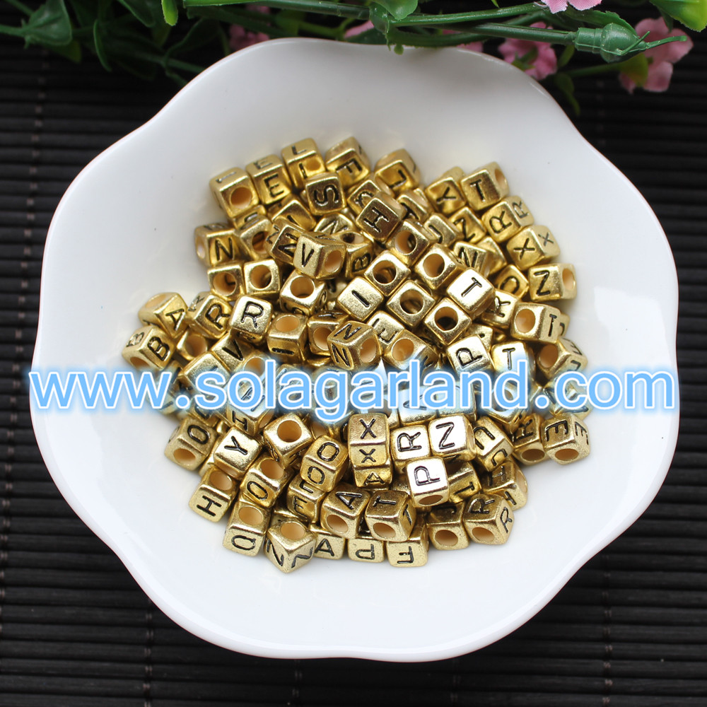 Gold Single Alphabet Square Cube Beads
