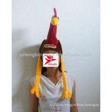 Sombrero divertido barato de la gallina de la felpa roja y azul encantadora del diseño