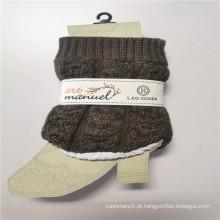 Aquecedores de perna curta de lã de cordeiro mais grossas de fibras acrílicas