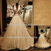 Q-6260 Robe de mariée en col en V Halter Robe de mariée en tulle en dentelle élégante 2012