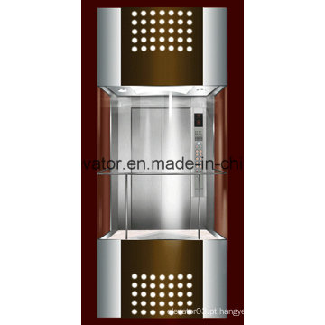 Elevador panorâmico de forma quadrada com vidro de 3 lados