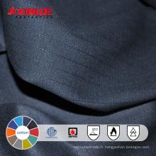 Tissu ignifuge ignifuge en gros coton noir pour l'habillement