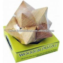 Puzzle en bois pointu d'angle étoile, style de luxe
