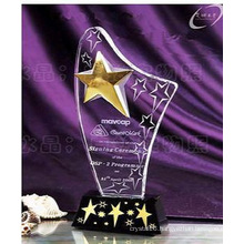 Engraving Star Crystal Trophy with Black Base