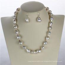 Snh 12mm AA + Edison blanco de agua dulce nupcial conjunto de joyas de perlas