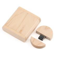 Round Wooden Flip 2.0b/3.0 Flash Memory Usb Flash Stick Pen Drive
