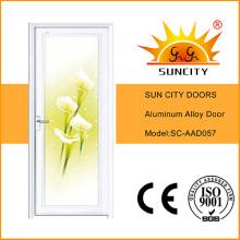 Blumen-Design-weiße Farbe Badezimmertür (SC-AAD057)