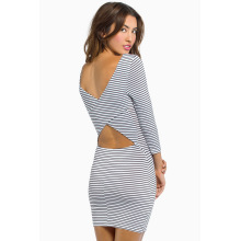 Sexy Long-Sleeved Stripe Packages Hip Waist Designer Dress
