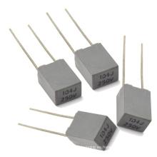 Condensador metalizado de la película del poliéster de la mini-caja de la echada 5j de 104j 250V
