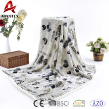 2018 New design printed flannel fleece sherpa back blanket plush throw