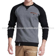 Men's round-neck hoodies, cotton, rib neck cuff hem, false welt pocket, OEM & ODMNew