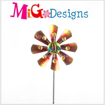 The Bees with The Flower Design Wind Spinner Garden Stake