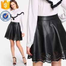 Scallop Laser Cut Coated Skirt Manufacture Wholesale Fashion Women Apparel (TA3092S)