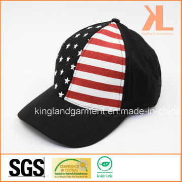 100% Cotton Drill USA American Flag Black Baseball Cap