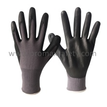 13G Grey Nylon Liner Black Ultra Thin Foam Nitrile Palm Coated Gloves
